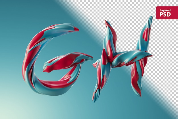 3d letters gh gemaakt van twee kleurenwervelingen