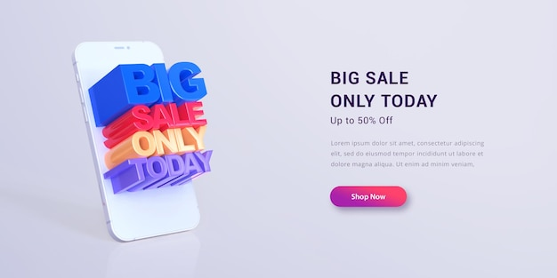 3d-letters grote verkoop alleen vandaag bannerontwerp
