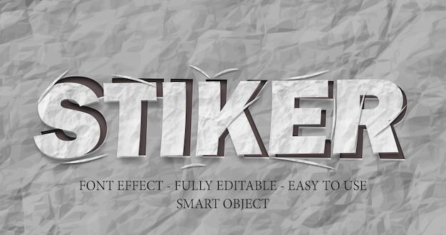 3d-lettertype-effect gesneden papieren sticker sjabloon