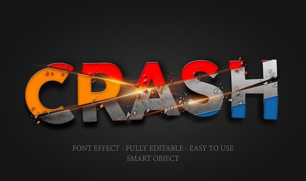 3d-lettertype kleurrijke ijzeren crash effect sjabloon