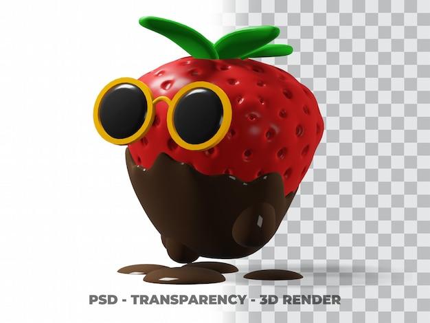 3d leuke bril aardbei chocolade met transparante achtergrond
