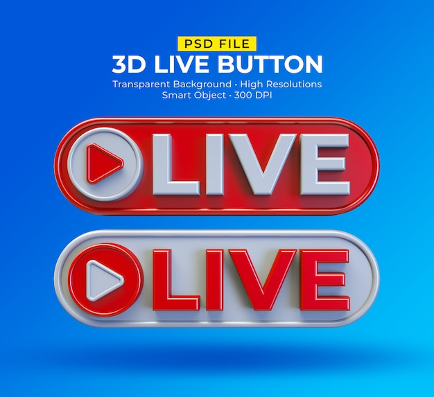 3d live-knop sociale media live streaming bericht
