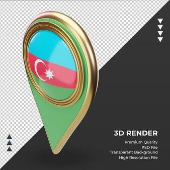 3d-locatie pin azerbeidzjan vlag rendering juiste weergave