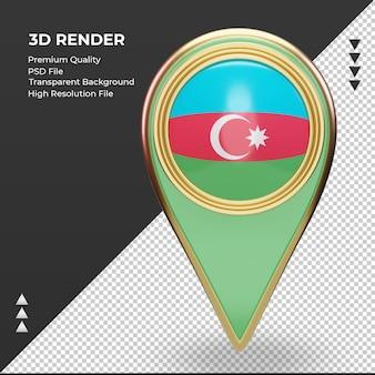 3d-locatie pin azerbeidzjan vlag rendering vooraanzicht