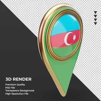 3d-locatie pin azerbeidzjan vlag weergave linker weergave