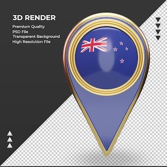 3d-locatie pin nieuw-zeelandse vlag rendering vooraanzicht