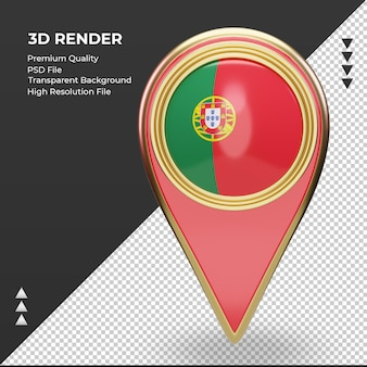 3d-locatie pin portugal vlag weergave vooraanzicht