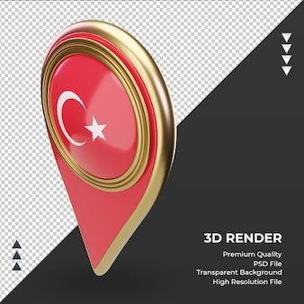 3d-locatie pin turkije vlag rendering juiste weergave