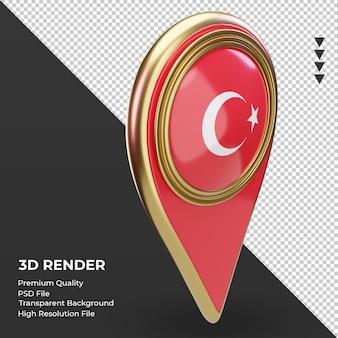 3d-locatie pin turkije vlag weergave linker weergave