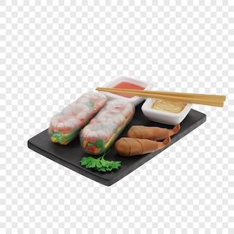 3d loempia's van twee soorten ongebakken en gebakken op een zwarte leisteen bord met sauzen eetstokjes