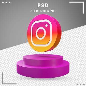 3d logo gedraaid pictogram instagram geïsoleerd