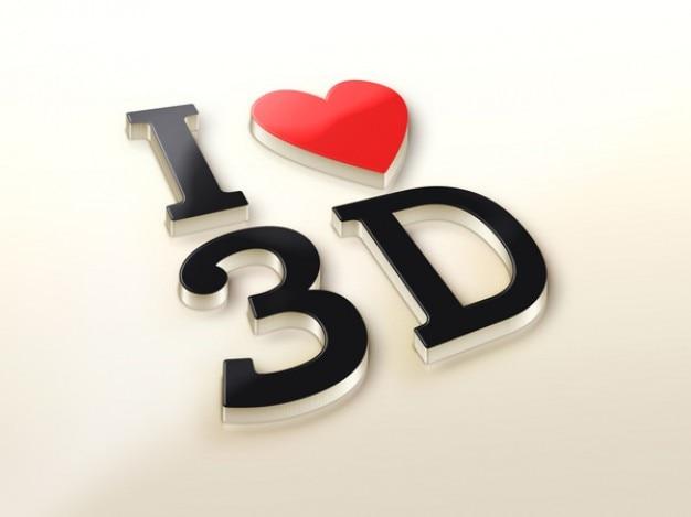 3d logo maqueta realista con el corazón