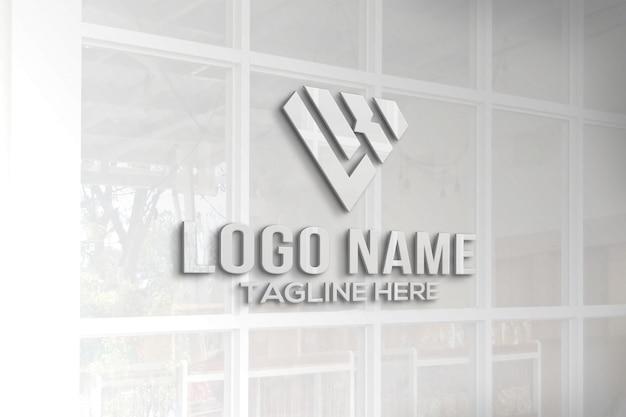 3d logo mockup glazen raam