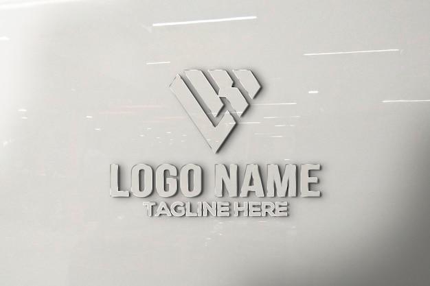3d logo mockup glazen wand