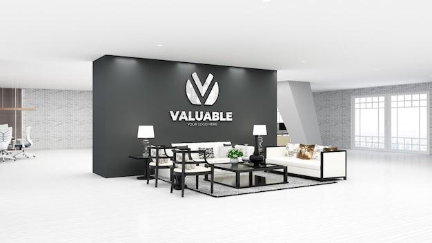 3d-logo mockup in de wachtkamer van de moderne kantoorlobby