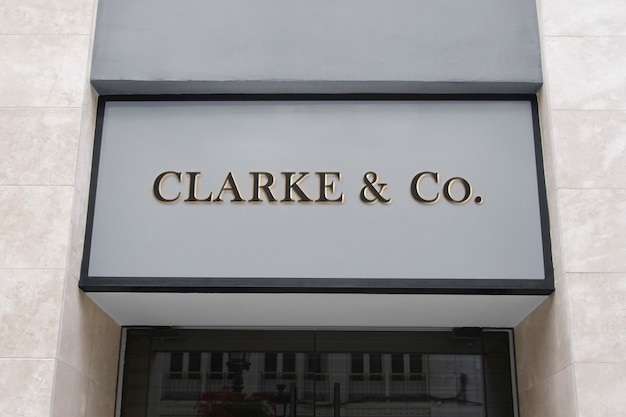3d logo mockup modern facade front sign