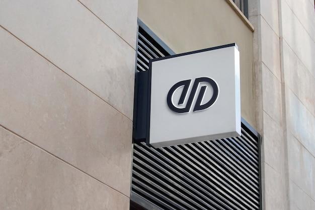 3d logo mockup modern white hang sign