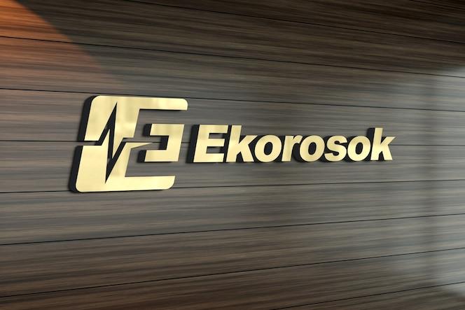 3d-logo mockup op een muur met houten patroon