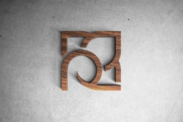 3d logo mockup op hout