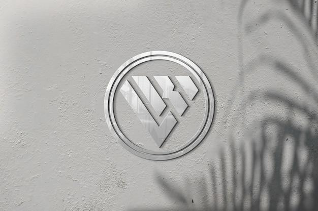 3d-logo mockup op muur schaduw