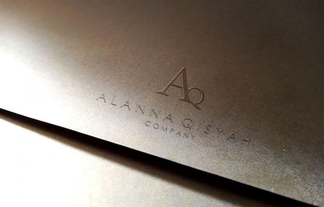 3d-logo mockup op papier