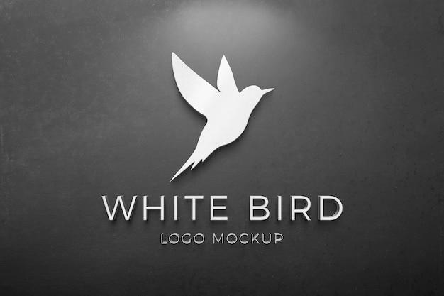 3d-logo mockup op zwarte muur