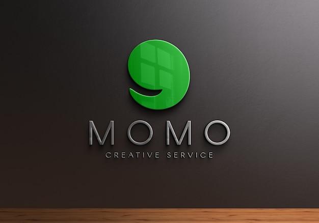 3d logo mockup op zwarte muur