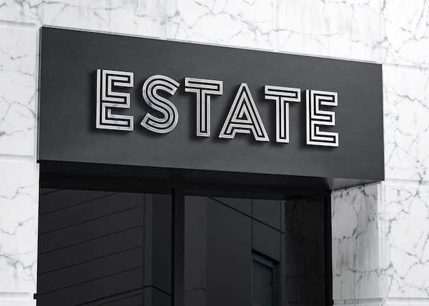 3d-logo mockup realistische billboard teken op wit marmeren gebouw