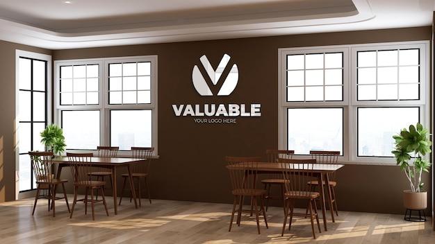 3d-logo muurmodel in de kantoorrestaurantkamer