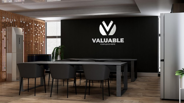 3d-logo muurmodel in de keuken van het kantoor