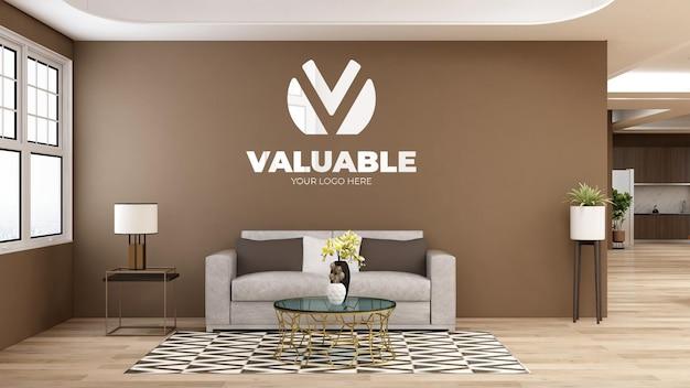 3d-logo muurmodel in de wachtkamer van de moderne kantoorlobby