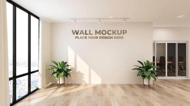 3d logo o maqueta de texto letrero realista pared de la oficina