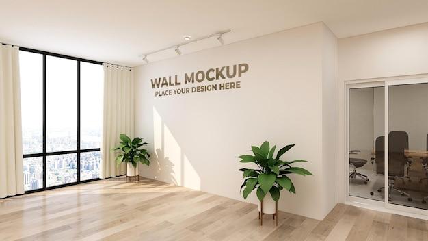 3d-logo of tekst mockup realistische teken kantoormuur