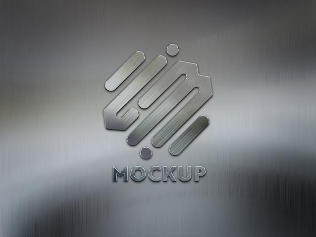 3d logo op metalen geborstelde plaat mockup