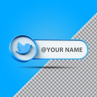 3d-logo voor sociale media-tweeter met labeltekstvak