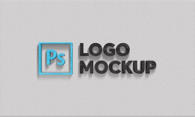 3d logo wall mockup psd
