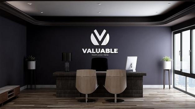3d-logomodel in de bedrijfsruimte van de kantoormanager met een minimalistisch interieur