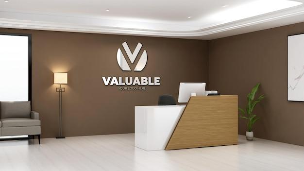 3d-logomodel in de kantoorreceptionist met minimalistisch en elegant designinterieur