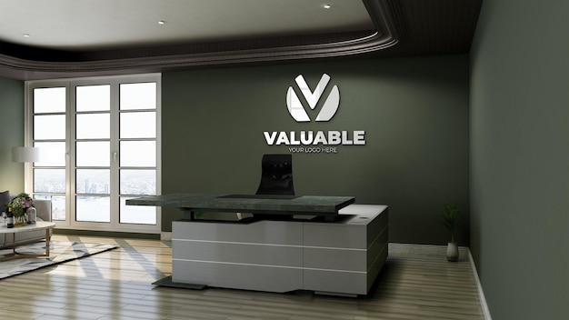 3d-logomodel met reflectielogo op de muur in de kamer van de kantoorreceptionist