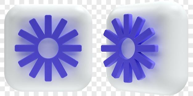 3d loom-pictogrammen in twee hoeken aan de voorkant en driekwart geïsoleerde illustraties
