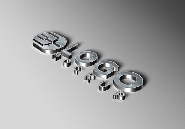 3d-luxe zilveren logo-mockup