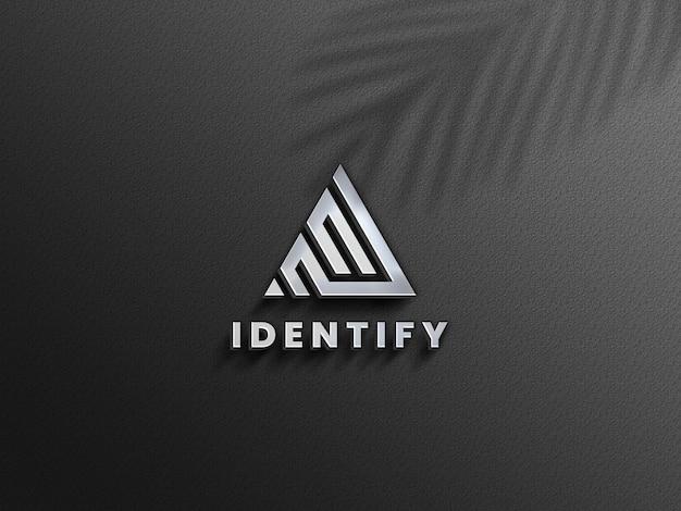 3d luxe zilveren logo mockup