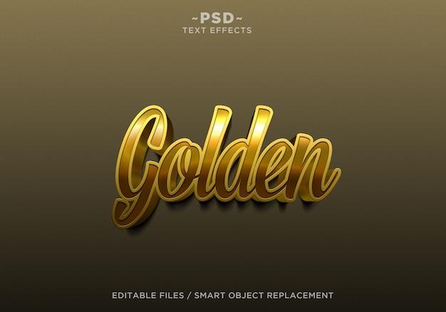 3d maak gouden effecten bewerkbare tekst