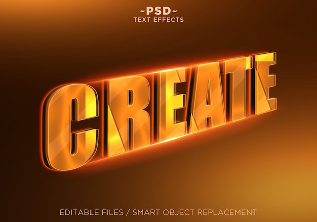 3d maak oranje bewerkbaar teksteffect