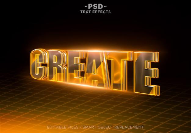 3d maak oranje effecten bewerkbare tekst