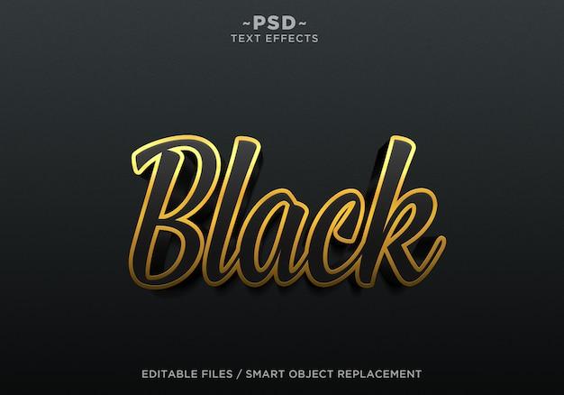 3d maak zwarte effecten bewerkbare tekst