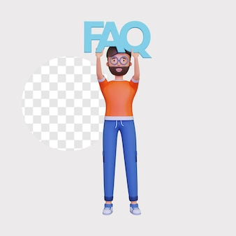 3d mannelijk karakter dat een faq-pictogram houdt