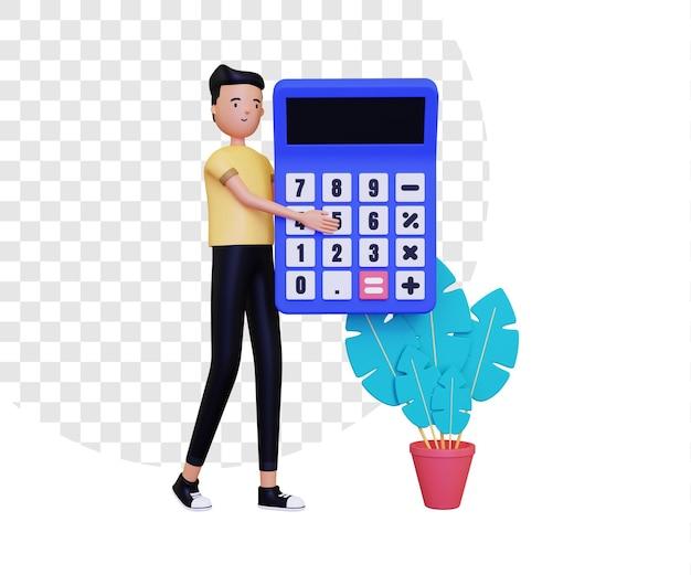 3d mannelijk karakter dat een grote rekenmachine houdt