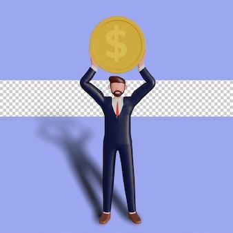 3d mannelijk karakter dat een muntstuk steunt. Premium Psd