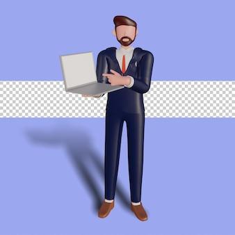 3d mannelijk karakter dat laptop houdt.